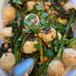 Baked ricotta meatballs with chickpeas and broccolini
