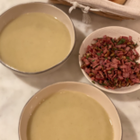 Parsnip apple soup with toasted hazelnuts, sage and crispy turkey bacon bits