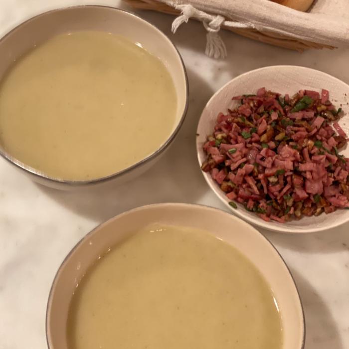 Parsnip apple soup with toasted hazelnuts, sage and crispy turkey bacon bits