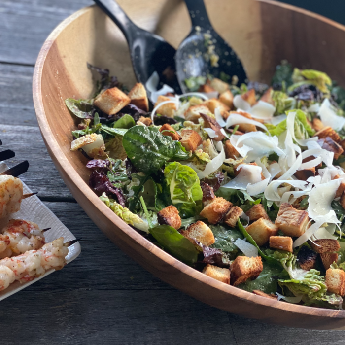 Caesar salad with grilled shrimps