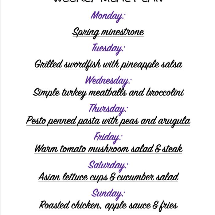 Weekly meal plan 04/19