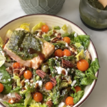 Chopped salad with salmon pesto