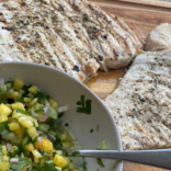 Swordfish with pineapple and cucumber salsa
