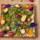 Savoury tart with loads of crunchy veggies