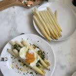 Asparagus with soft boiled egg
