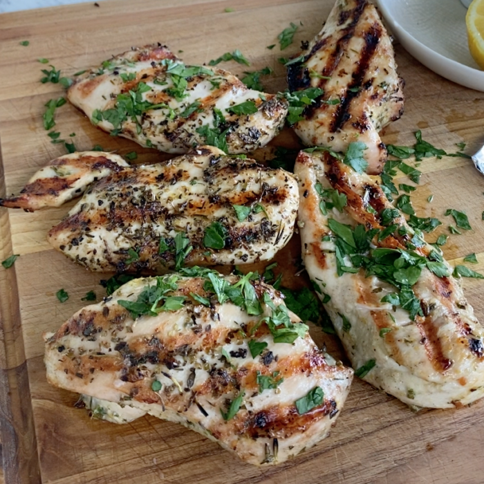 Grilled lemony, rosemary and thyme chicken