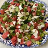 Super refreshing watermelon, cucumber and feta salad