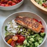 Salmon greek bowl
