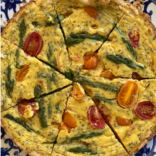 Ricotta quiche with asparagus and cherry tomatoes