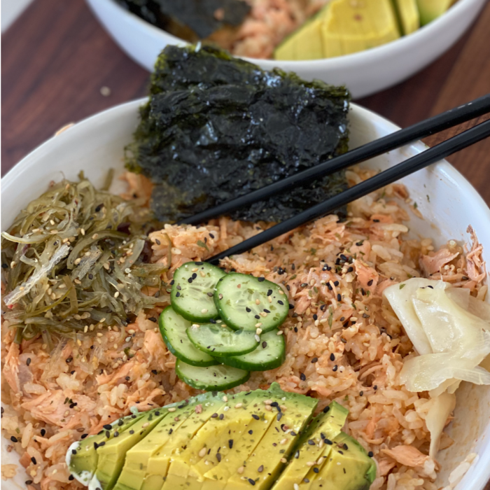 Spicy salmon and rice bowls